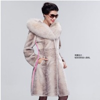 Female high quality blue fox statehood fur collar sheepskin wool one piece female fur coat