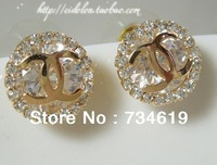Free shipping Big discount crystal diamond stud earrings