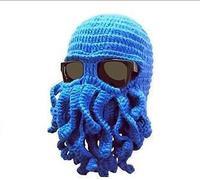 7 colors  New 2014 Novelty Handmade Knitting Wool Funny Beard Winter Octopus Hats&caps Crochet Beanies Unisex Gift.Free Shipping