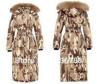 2013 Winter Warmest Personality Pattern Fur Collar Hood X-long Down Jacket
