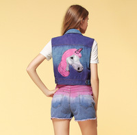 new 2014 cute sweety coat & jacket with beading decoration unicorn pony pattern print denim vests