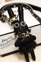 Min order $15(mix items)Fashion Handmade Leather Punk Rivet Black Button  Bunny Rabbit Sweater Necklace Pendant Keychain