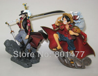 "Set Of 2 Figures Japan Anime Banpresto One Piece Luffy + Mihawk Scultures Vo1.2 PVC Figure 5.5""/14cm In Original Box"