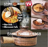 2014 New Stone Wave Microwave Cooker Healthy Cooking Pot Hand-Made Ceramic Stoneware As Seen As On Tv Free Shipping