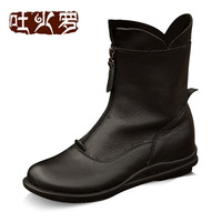 Genuine leather comfortable ankle boots spring and autumn female boots brief tokharoi martin boots