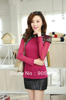 Free shipping2013 autumn winter new lapel long-sleeved shirt bottoming woman openwork lace T-shirt bottoming shirt woman