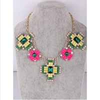 Free shiping  flower cross green/ red necklace for women statement necklaces