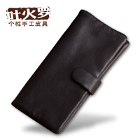Calf skin long design handmade fold wallet genuine leather long wallet design