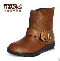 First layer of cowhide personality buckle decoration comfortable brief women's all-match boots