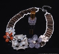 Fashion vintage rhinestone flower handmade   necklace for women
