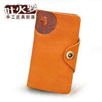 Vintage medium-long snap button wallet personalized handmade genuine leather purse special unique tuwen