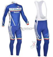 2013 NEW!!! Italia Skoda team long sleeve autumn bib cycling wear clothes bicycle bike riding cycling jerseys bib pants set