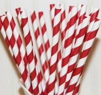 Free Shipping 25pcs Paper Straws,3# Dark Red Striped Drinking Paper Straws Christmas Wedding Decoration