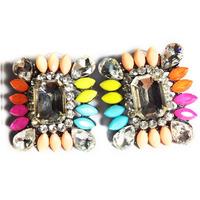 WholesaleNew 2014 Hot sale women fashion shourouk crysta rainbow statement Earrings for women jewelry Factory Price