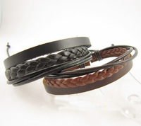 2014 New Arrival Wrap Leather Black and Brown Braided Rope Bracelet for Men and Women Charms Fashion Man Jewelry A2743