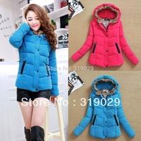 2014 New Women Down coat Cotton Clothing Outerwear Warm jackets Hoody Girls Slim Fleeces M L XL Retail