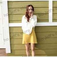 2013 Free Shipping Casual Mix-matched Pure Colour Sleeveless Dress Yellow Hot-sales