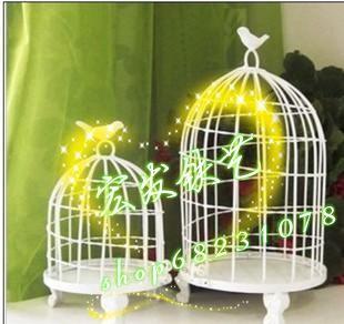 Grátis frete personalizável estilo francês branco de casamento de ferro forjado gaiola de pássaro decoração adereços de flores flor estande(China (Mainland))
