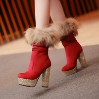 Ultra high heels round toe slip-resistant wear-resistant rubber sole boots genuine leather medium-leg boots fox fur boots snow