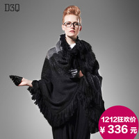 D3q2013 fashion tassel plaid large cape thick thermal women's cloak sheep fur shawl