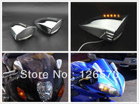 Free Shipping Chrome Motorcycle LED Turn Signal Pig Spotter Mirror for Kawasaki Ninja ZX 6R 7R 9R 10R 12R 250R 500R 650R ZZR 600