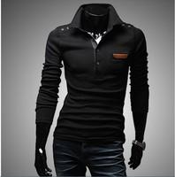 2014 new arrived,Retro button decorative chest skin men's long sleeve T-shirt,2 color 4 size