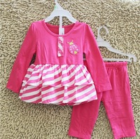 5sets/lot free shipping hot pink ladybug carter's clothing sets for baby girls princess toddler cotton outwear baby pants set