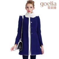 Goelia 2013 winter new arrival slim waist medium-long woolen material outerwear overcoat fur collar 13ce6e63a