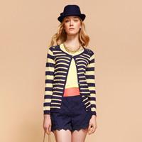Goelia 2013 women's spring lace patchwork stripe long-sleeve sweater cardigan 32c5f170