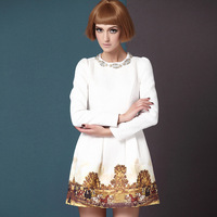 2013 autumn women's handmade beading jacquard long-sleeve print one-piece dress white a line dress
