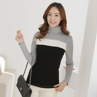 Winter plus velvet thickening basic shirt women's long-sleeve t-shirt formal color block all-match clothing