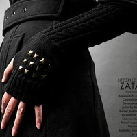 New 2014 2013 long design yarn gloves man winter knitted thermal long gloves fashion semi-finger arm sleeve