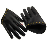 New 2014 Gulps half leather gloves short design gloves fashion personality gloves punk rivet gloves