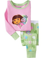2013 Newest DORA baby pajamas kids jumpsuits long sleeve pajamas bodysuit kids sleepwear freeshipping 6 sets/lot