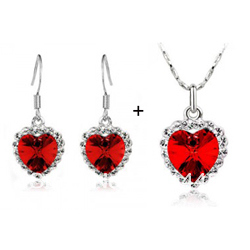 Factory wholesale two 2sets Austrian crystal 18k Yellow white gold plated red girl heart of ocean earring Necklace(China (Mainland))
