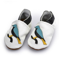 New Arrivals European Genuine Soft Leather Round Toe Comfortable Applique Birds Wrestling Baby Shoes Free Shipping BAB036