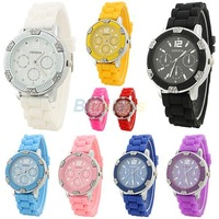 Min. 16 2013 Fashion Geneva Popular Watch Crystal Stone Silicone Women Lady Jelly Quartz Wrist Watch Multi Colors Sale
