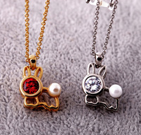 A crystal all-match mini rabbit thickening 14k women's short design necklace boxed