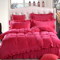 Super soft velvet bed four piece set single double thickening thermal short plush four piece bedding set