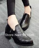 Free shipping/   The new European and American crocodile grain side zippers pointed color matching shoes