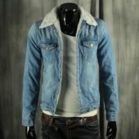 Free Shipping2014 New  Autumn & winter male water wash denim outerwear male plus velvet slim denim jacket vintage denim coat