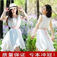 Spring 2012 solid color chiffon one-piece dress spring women's fairy summer tank dress