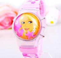1PC Cartoon Princess Watch Fashion Clamshell Children Kids Students Girls Silicone Digital Watches Clock Light Free Shipping