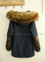 Large fur collar medium-long berber fleece slim drawstring waist with a hood color block decoration Camouflage tooling wadded