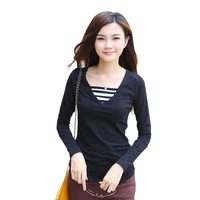 2013 plus size clothing autumn t-shirt female V-neck loose basic T-shirt long-sleeve slim shirt