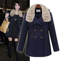 FREE SHIPPING High quality winter 2013 women's overcoat medium-long woolen outerwear rabbit fur trench overcoat