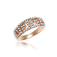 Min Order $10(Mix Items)Deigner Bijoux Fashion Rose Gold Plated Austria Dazzling Crystal Wedding Engagement Rings For Women