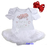 Baby Rhinestone Wild for my Valentine White Short Sleeves Bodysuit Pettiskirt and Red Headband NB-18M