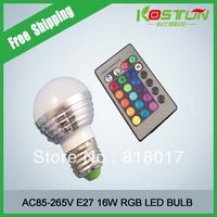 2X 6W RGB E27 16 Colors LED Light Bulb Lamp Spotlight 85-265V + IR Remote Control free shipping