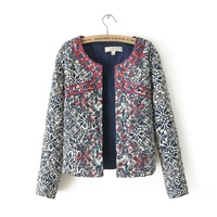 Blue and white porcelain 2013 print embroidery chinese style jacket small wadded jacket cotton-padded jacket female